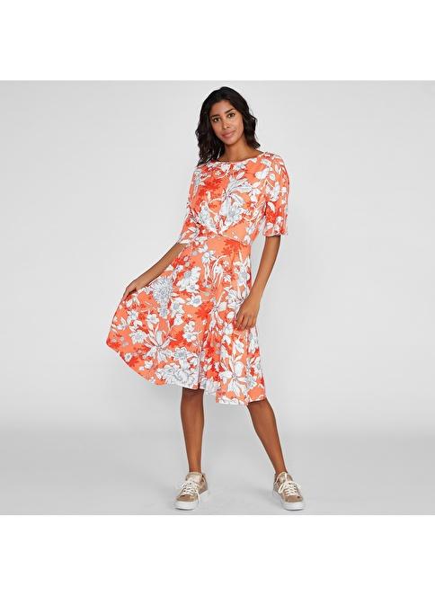 Vekem-Limited Edition Kayık Yaka Çiçek Desenli Elbise Oranj